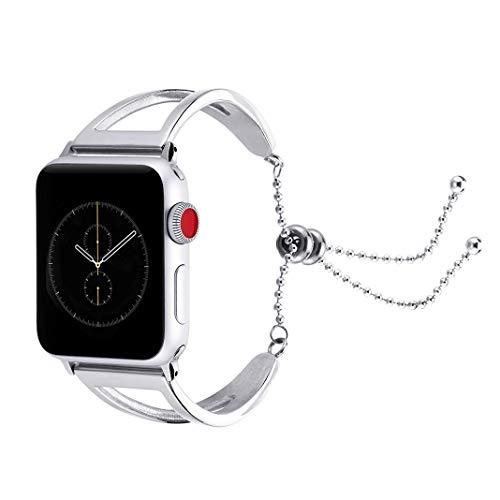 Armband für Apple Watch 42mm 44mm, Luxuriöses Edelstahl Metall Mädchen iWatch Straps Ersatzband Uhrenarmband Armbänder Wristband mit Anhänger/Quaste für Apple Watch Serie 4 3 2 1,Nike+,Sport,Edition