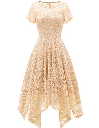 bridesmay Damen Elegant Spitzenkleid Rundhals Unregelmässig Zipfel Kleid Abendkleid Cocktailkleider Champagne M -