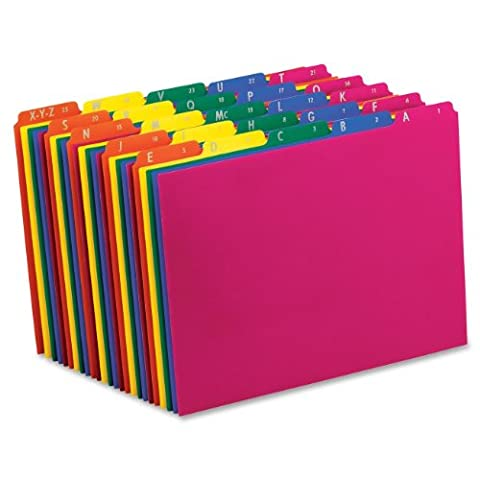 Pendaflex Poly File Guides, A-Z , 1/5 Cut Top Tabs, Letter, Assorted Colors,