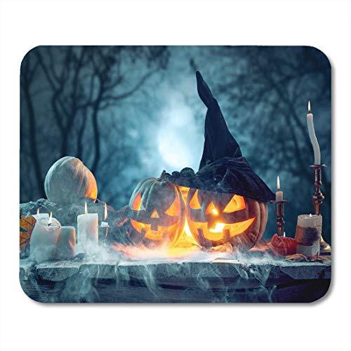 Deglogse Gaming-Mauspad-Matte, Carved Black Autumn Halloween Pumpkins on Blue Orange Candle Mouse Pad, Desktop Computers mats
