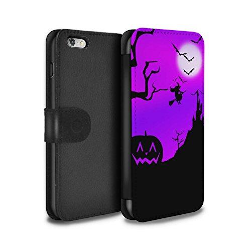 Stuff4 Coque/Etui/Housse Cuir PU Case/Cover pour Apple iPhone 8 / Forêt Effrayant Design / Scène Halloween Collection Citrouille/Sorcière