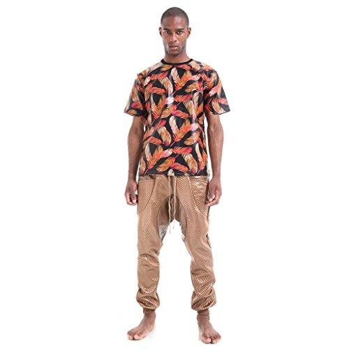 Pizoff Unisex Luxus Bunt Leder Dicke Warm T-Shirt mit 3D Digital Feder Muster P3616-Red