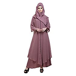Baby Pink Nida Double Layer Designer Zipper Front Open Abaya (Medium)