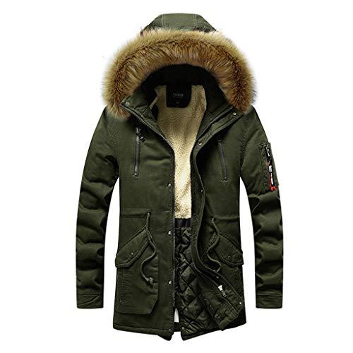 Amphia - Herren Daunenjacke,Männer Winter Mittellanger Hoodie Verdickt Plus Size Cotton Padded Jacket Coat