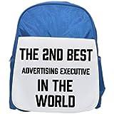 La 2 nd mejor publicidad ejecutivo en el mundo impreso Kid s azul mochila,