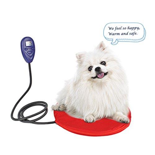 PETLESO Hund beheizte Auflage für kleine Haustiere oder Katzen mit kratzbeständigem Cord Design Einstellbare Temperatur von 20 bis 55 ℃, Größe -30x30 cm, Rot -