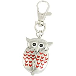 Silver Tone Red Lobster Clasp Keychain Metal Owl Shape Quartz Watch