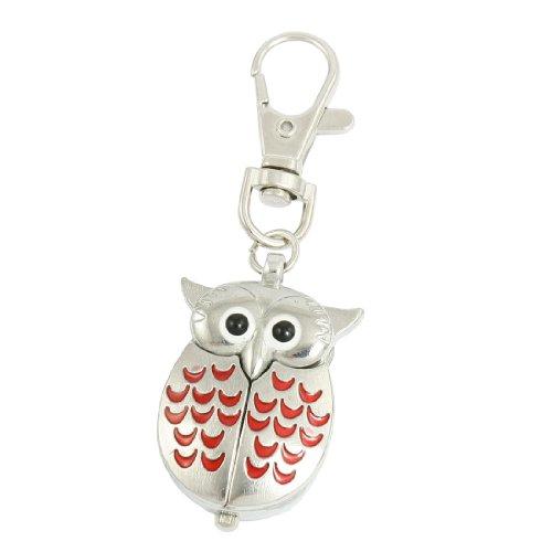 silver-tone-red-lobster-clasp-keychain-metal-owl-shape-quartz-watch