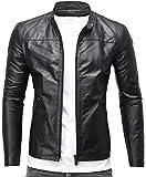 CRONE Epic Herren Lederjacke Cleane Leichte Basic Leder Jacke aus weichem Schafs-Leder (L, Schwarz)