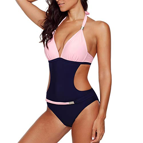 Damen Badeanzug Push up Monokini Sexy Rückenfrei Bikini Hohe Taille Bademode Einteiler Tankini Neckholder Schwimmanzug Rosa EU 42-44