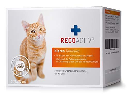 RECOACTIV® Nieren Tonicum für Katzen, 3 x 90 ml, Nahrungsmittelergänzung für nierenkranke Katzen sowie zur Prophylaxe, Stärkungsmittel zur Rekonvaleszenz bei Niereninsuffizienz der Katze