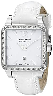 Louis Erard Women's 20700SE01.BDC61 Emotion Square Automatic White Leather Diamond Watch