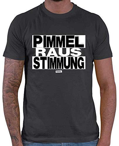 HARIZ  Herren T-Shirt Pimmel Raus Stimmung Sprüche Schwarz Weiß Plus Geschenkkarte Dunkel Grau XXL