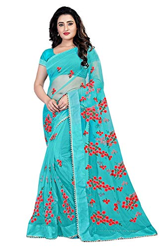 Regon Women\'s Mono Net Embroidery Work Saree with Blouse Piece (Sky Blue Free Size)