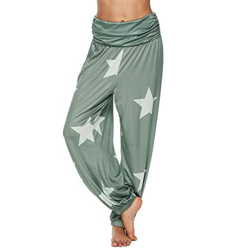 WOZOW Damen Hosen Sterne Print Muster Elastisch Falten Gefaltet Lose Lang Bequem Straight Leg Casual High Waist Aladdin Trousers Übergröße (3XL,Grün)