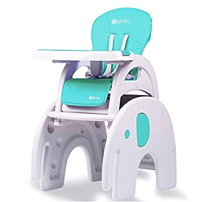 Travel Cots Brisk- 3 In 1 Baby High Chair Desk Convertible Play Table Conversion Seat Booster (Color : Elephant section (Macaron blue))