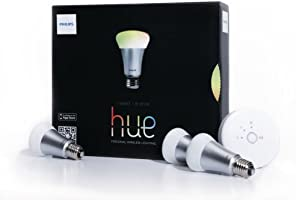 Philips, Kit di 3 lampadine Hue, con controllo intelligente da tablet o smartphone, classe di efficienza energetica: A+, 8,5W, attacco: E27, formato: A60, incl. Hue bridge