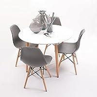 Conjunto de comedor NORDIK-MAX con mesa redonda lacada blanca y 4 sillas Eames (GRIS OSCURO)