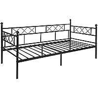 Aingoo sofá cama armadura de cama con tablillas cama de día cama de invitados 90 x 200 CM (Negro style 2)