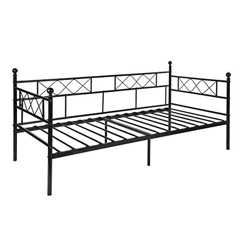 Aingoo Tagesbett mit lattenrost Metallbett Bettrahmen für Schlafzimmer Wohnzimmer Day Bed Kreuzzeichen Muster (Schwarz, 90 x 190 cm)