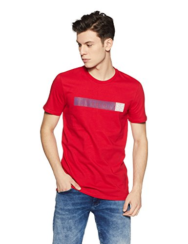United Colors of Benetton Men's Printed Regular Fit T-Shirt (203760729_Red_L)