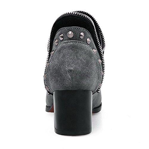 VogueZone009 Damen Ziehen Auf Mittler Absatz Eingelegt Knöchel Hohe Stiefel mit Rivet Set Grau