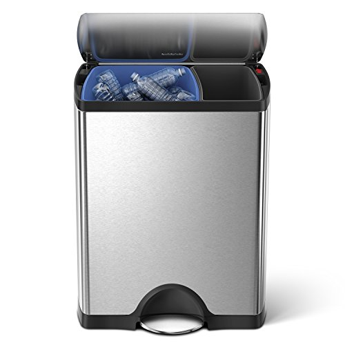 simplehuman CW1830 poubelle de recyclage rectangulaire à pédale, acier inox brossé 30 / 16 L