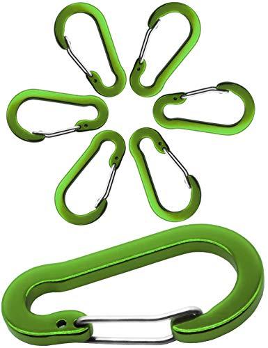 Outdoor Saxx® - 6X Aluminium Karabiner, Clip-Karabiner, für Schlüssel-Ring, Gürtel, Zelt, Kanu, Paracord | 5cm, 6er Pack, grün (Six Pack-tasche)