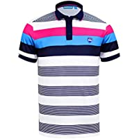c1346d47d Bunker Mentality Cmax Bold Stripe Tech Golf Polo Shirt - Navy/Pink