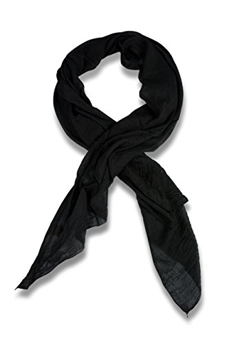 FashionCHIMP Schal aus Baumwolle und Seide für Damen in kräftigen Uni-Farben und modernem Schnitt, Tuch (Schwarz)