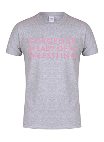 Unisex Youth Slogan T-Shirt - Gorgeous Lady of Wrestling - Grey - Youth 5-6 Yrs with Pink -