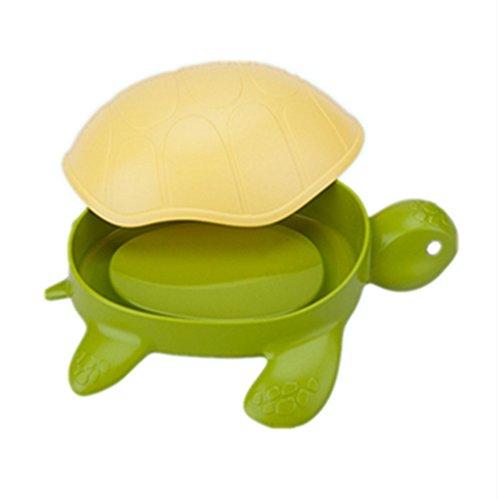 EQLEF Jabonera Niños con Tapa Forma de Tortuga Plástico Verde Drenaje Jabonera para baño Cocina Caja de Soporte de jabón Lindo