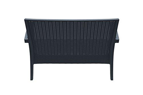 CLP 2er Rattan Garten Lounge-Sofa MIAMI V2, Vollkunststoff in Rattan-Optik, ca. 130 x 80 cm, mit Sitzkissen, stapelbare Sitzbank Dunkelgrau - 5