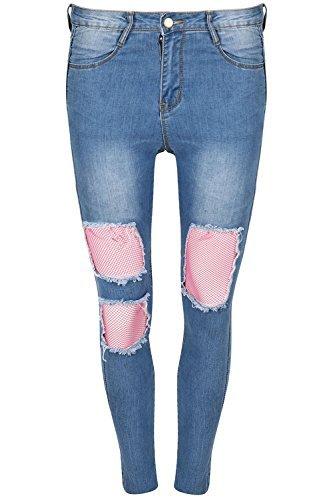 Be Jealous Damen Damen Front Fischnetz zerschlissene Jeans Knie Schnitt Distressed Hautenge Jeans UK Größe 8-14 - Hell Denim Blau, Medium (UK 10) - Zerschlissene Jeans
