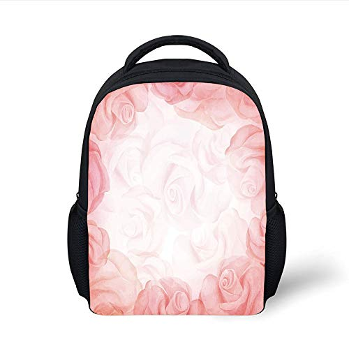 Kids School Backpack Light Pink,Romantic Frame with Blooming Roses Watercolor Fantasy Art Feminine Decorative,Pink Light Pink White Plain Bookbag Travel Daypack