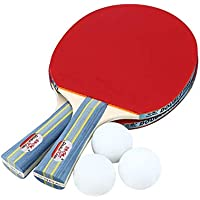 ACROPLIS Double Fish Outdoor Indoor Sports Table Tennis Rackets with Ping-Pong Balls Portable Durable Ping-Pong Paddle Set
