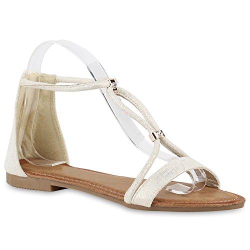 Damen Keilabsatz Sandalen | Riemchensandalen Strass | Sandaletten Wedges Glitzer | Blumen Metallic Flats | Sommerschuhe Creme Avion