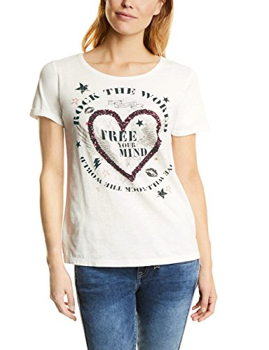 Street One Damen T-Shirt 311452, Weiß (Off White 30108), 38 (T-shirt Herz Damen)