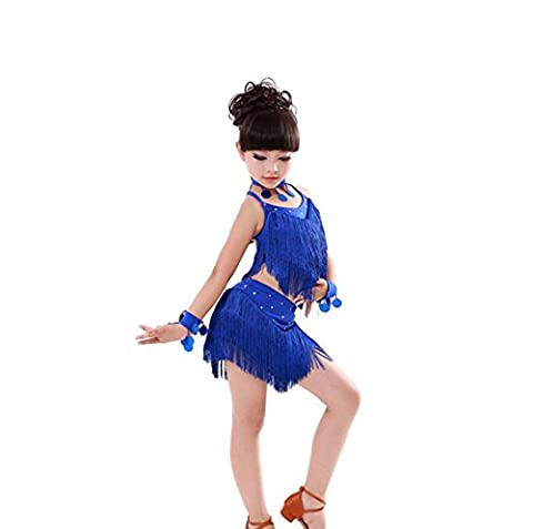 Wgwioo Robe De Danse Latine Gland Enfants . Blue .