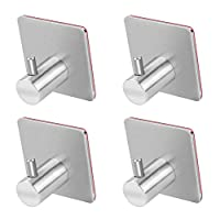 WYCTIN Self Adhesive Hooks, Heavy Duty SUS 304 Stainless Steel Towel Hook Wall Mount for Kitchen Bathrooms Lavatory Closets, Waterproof and Rustproof (Pack of 4)