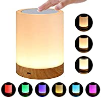 Night Light,Womdee Touch Lamp for Bedrooms Living Room Portable Table Bedside Lamps with Rechargeable Internal Battery, 3 Kinds of Brightness Warm White Light & 6 Color RGB