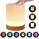 Umiwe Touch Nachtlicht Lampe für Schlafzimmer Wohnzimmer tragbaren Tisch Nachttischlampen mit wiederaufladbaren internen Akku dimmbar 2800k-3100k warmweißes Licht & Farbe RGB ändern