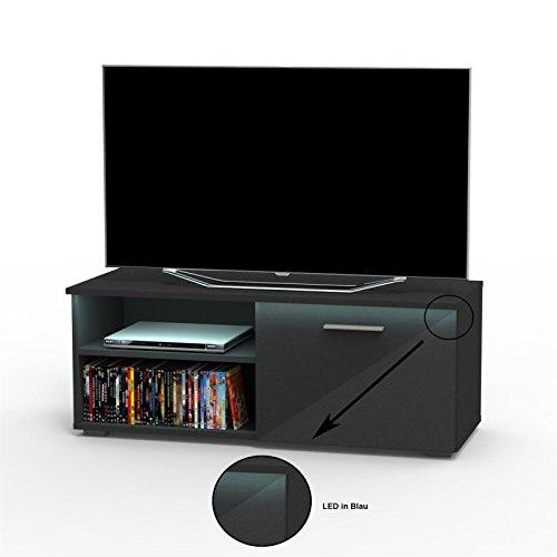 TV Lowboard Bank Fernsehtisch MALIBU in schwarz Hochglanz mit LED Beleuchtung 102 cm breit, 1 Klappe