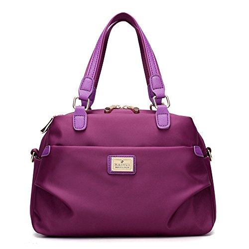 Eshow Damen Nylon Schulter Crossbody Bag Tägliche Geldbörse Top Handtasche Tote Hobo Schultertasche Casual Shopping, Lila (Canvas-nylon-geldbörse)