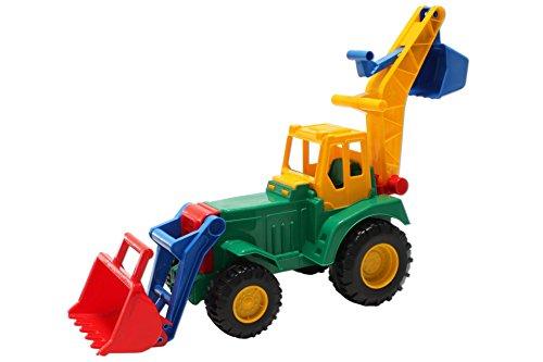 Lena Traktor mit Front u. Hecklader gelb grün Trecker Bagger
