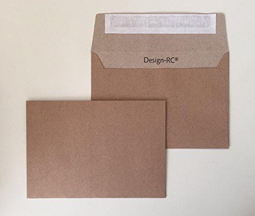 50 Umschläge, Design-RC®, aus Recycling-Papier mit Abziehstreifen, Kuverts im Format C6 = 162 x 114 mm / Postkarten-Größe (Postkarte Natur)