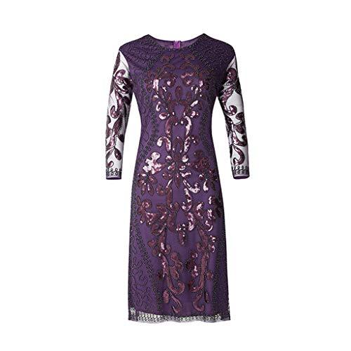 nspiriert Maxikleid Damen Pailletten Perlen Kleid Übergröße Lange Kleider Partykleid Festliches Kleid Abendkleider Lange Ärmel Cocktailkleid Spitzenkleid(Small,Lila) ()