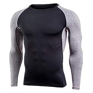 Plot Herren Sport T-Shirts Schnelltrocknend Lange Ärmel Spleiß Fitness Kompressionsshirt Funktionswäsche Base Layer