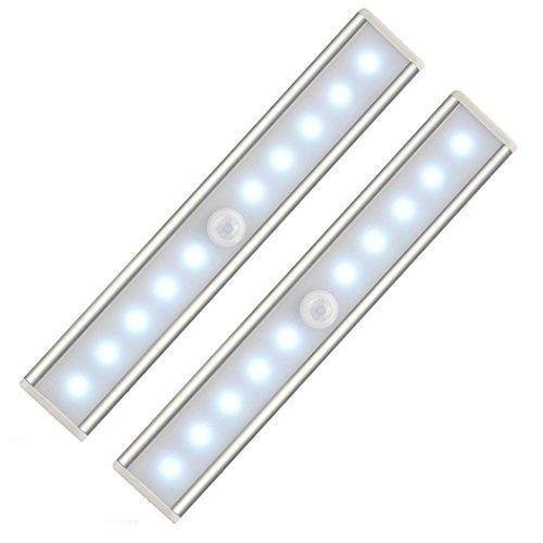 Preisvergleich Produktbild KKAAEE 10 LED Sensor-Leuchten ,  Lichtleiste,  mit einem Magnetstreifen installieren,  Nachtlichter mit Bewegungsmelder,  automatischer Schranklicht,  ideal für Schränke,  Schublade,  Schlafzimmer,  Flur,  Werkstatt,  Keller,  Garage,  Treppenhaus, Dachboden,  Flur,  Geschirrschrank, Innen- und Außen (white 2er Set)