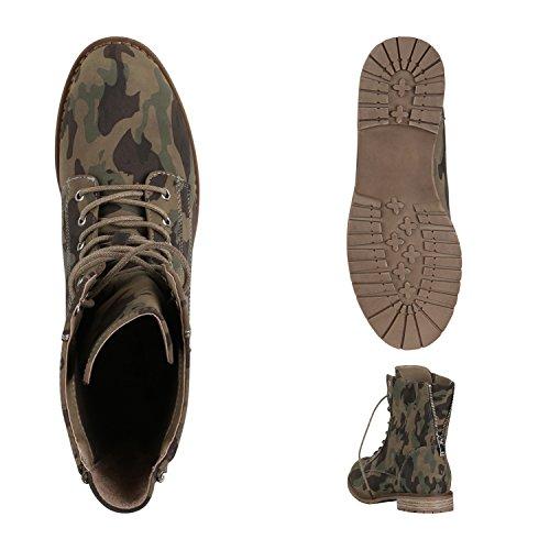 Damen Schnürstiefeletten Profil Sohle Stiefeletten Lederoptik Camouflage